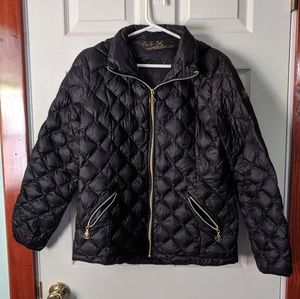 Black puff jacket with hood